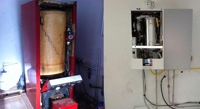 Instalación de caldera de condensación : Antes y Después