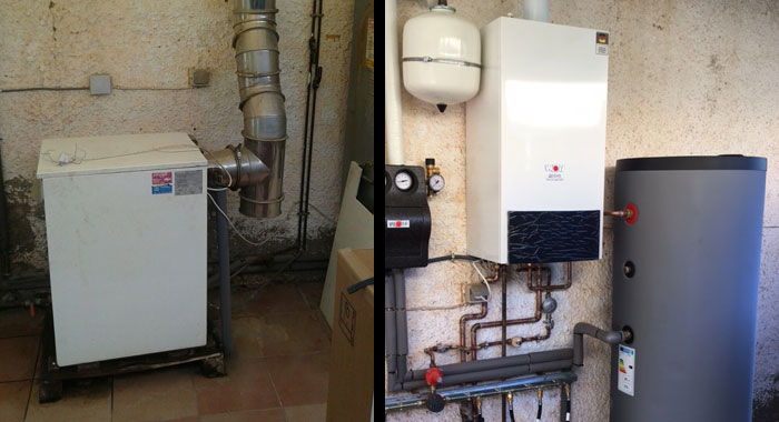 Antes y después en instalación de caldera